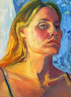 Self portrail oil painting of head and shoulders