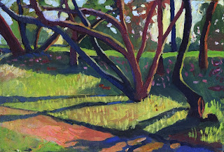 Oil painting of landscape-Stacy Park in Austin, TX