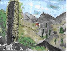 Un cactus y un loro volando, eso estaba pintando