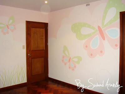 Murales en dormitorios cuarto ni a mariposas - Murales para ninas ...