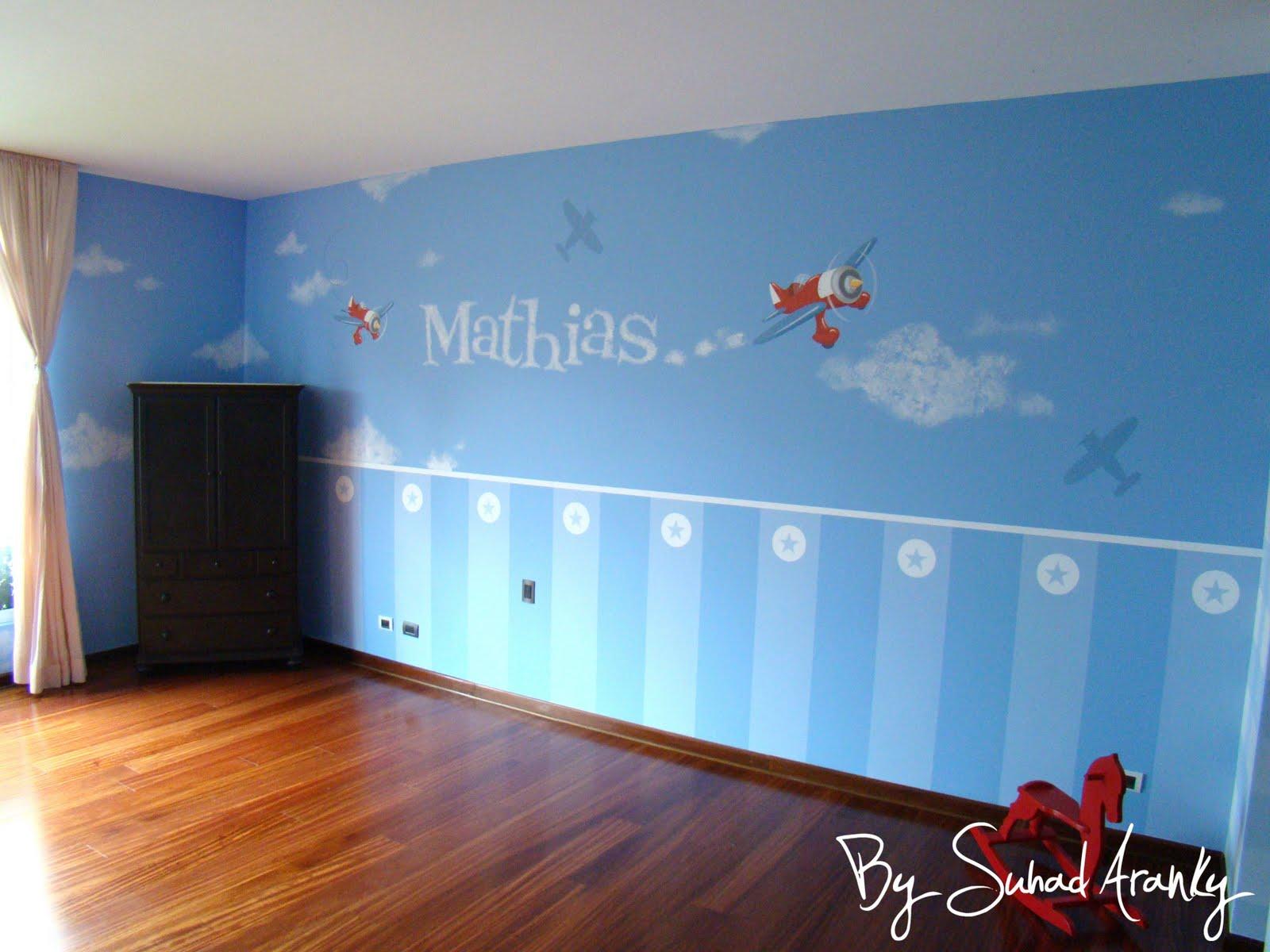 Murales en dormitorios cuarto beb aviones for Murales habitacion bebe