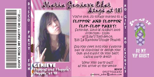 Indienera sa kabisera flippin and floppin debut party my invitation for my last years debut party i personally designed it because i really wanted to be hands on with organizing my party stopboris Image collections