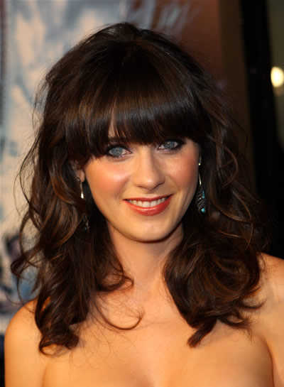 hairstyles for long curly hair with bangs