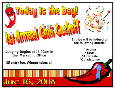 peek into my party chili cookoff flyer. Black Bedroom Furniture Sets. Home Design Ideas