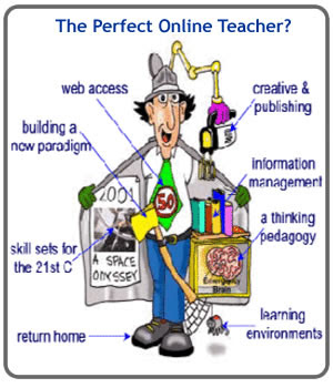 This is a picture of Inspector Gadget as the perfect online teacher. His gadgets include a learning environment,web access, creative and publishing, info management, and skill sets for the 21st century.