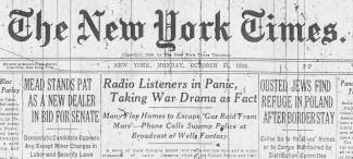 image of the middle portion of the October 31, 1938 Late City  Edition of The New York Times