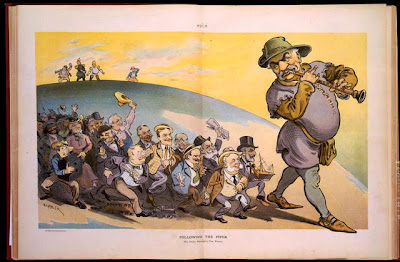This cartoon shows people of various countries and professions following the piper of big business, J.P. Morgan