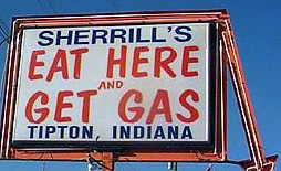 eat here and get gas sign