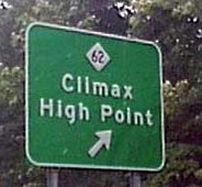 Sign for Climax High Point