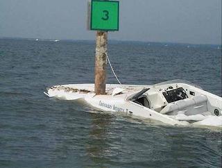 Boat hits marker