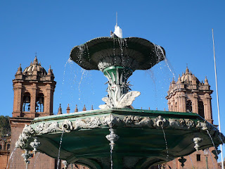 Cusco Cathedral with fountain