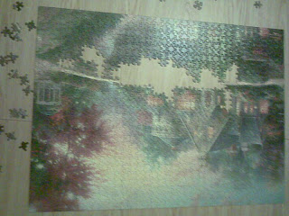 Puzzle 80% complete, upside down