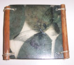 RUBBER STAMPED IMAGE ON SEAWEED COASTER