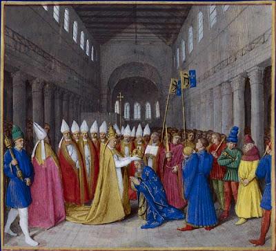 Le+25+d%C3%A9cembre+de+l%27an+800,+%C3%A0+Saint-Pierre+de+Rome,+Charlemagne+est+couronn%C3%A9+empereur+par+le+pape+L%C3%A9on+III.+Sacre+de+Charlemagne