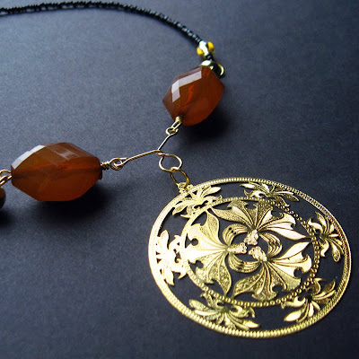 Necklace / Choker - Handmade with Pendant - La Fleur