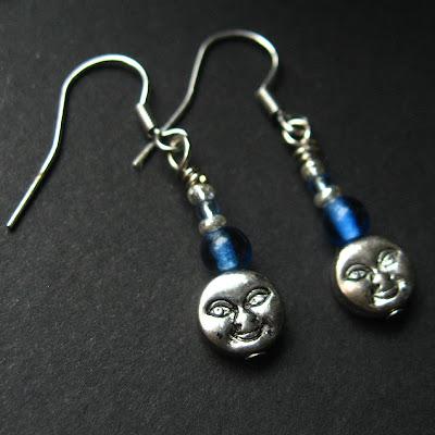 Man in the Blue Moon Beaded Earrings