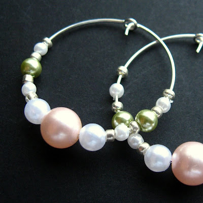 Pastel Pearls and Silver Hoop Earrings - Handel in Spring