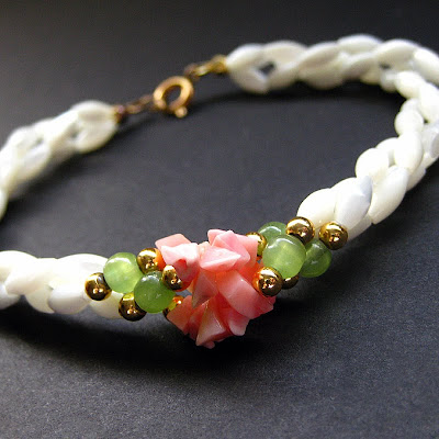 Poseidon's Daughter Bracelet in Mother of Pearl, Coral and Aventurine