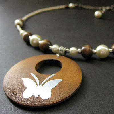 Beaded Butterfly Necklace of Wood and Pearls
