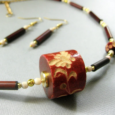 Hand Carved Beaded Butterfly Necklace