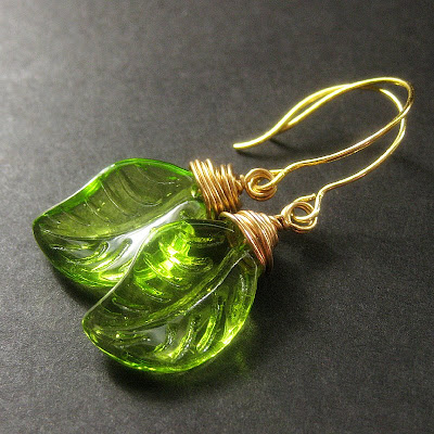 Green Leaves of Glass Wire Wrapped Earrings