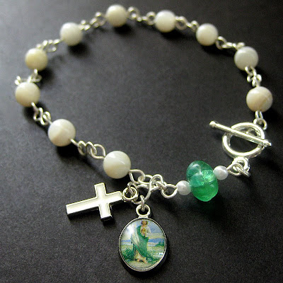 Mother of Pearl Rosary Bracelet with a Hint of Green
