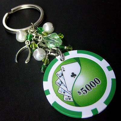Lucky Green Gamblers Casino Chip Charm