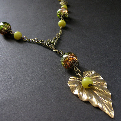 Nature Inspired Leaf Necklace in Jade Gemstone and Bronze