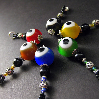Beaded Eyeball Charms in a Variety of Colors