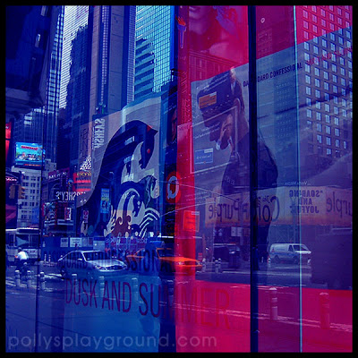 new york city street window reflection