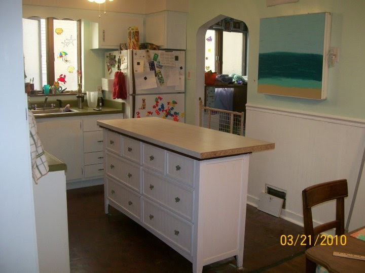 Aqua Chiffon Buffet Turned Kitchen Island