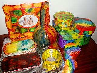 pintura  marmorizada ou marmorização– cores fortes