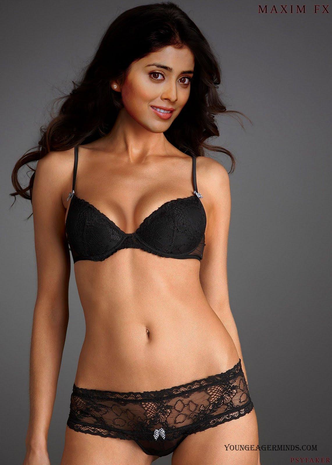 shriya saran fake black bikini