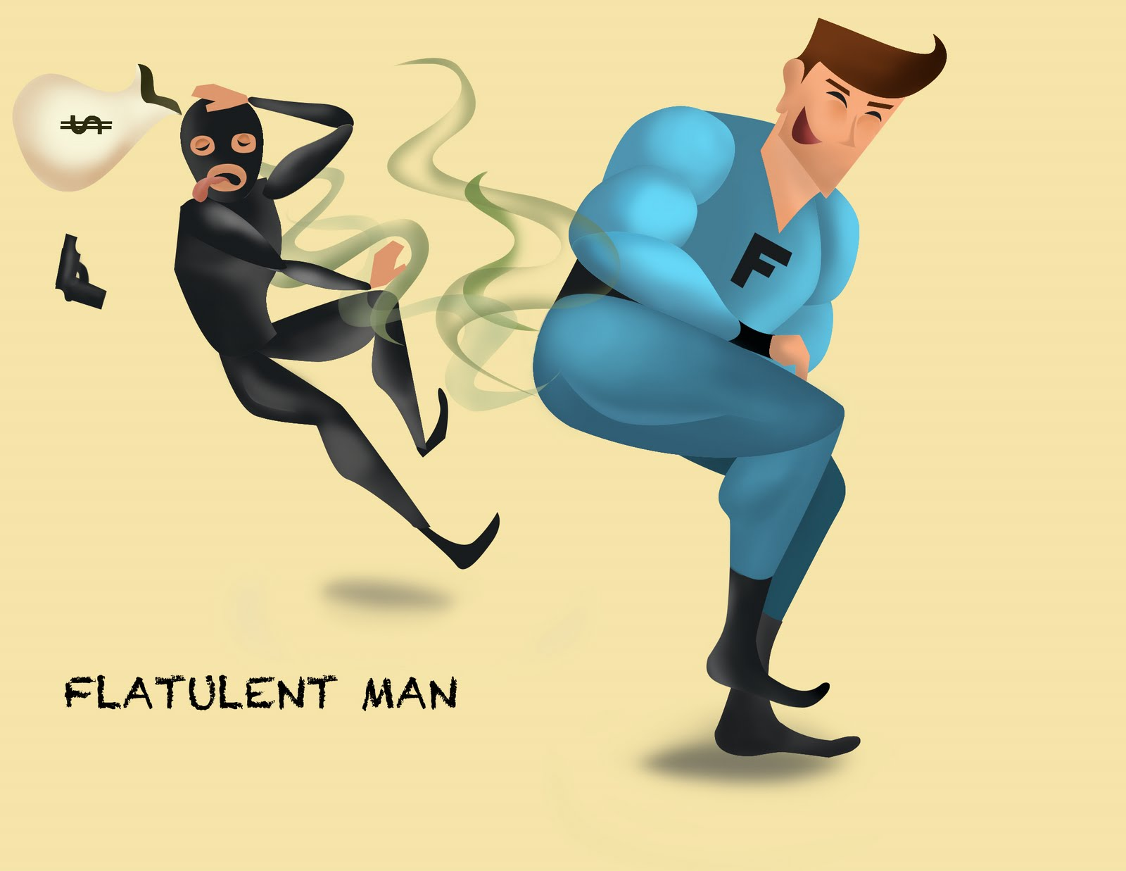 Hi Guys, So This Is Flatulent Man, One Of His Specialty Is To Run Up To A  Criminal And Let A Big One Loose, Thus Saving The Day.