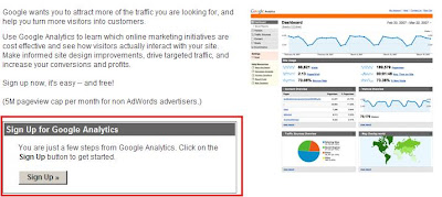 Google Analytics, sign up page