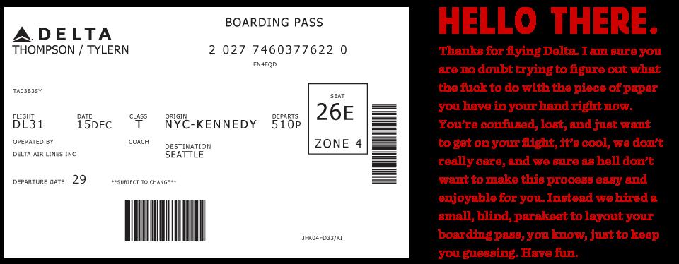 Boarding pass failDelta Boarding Pass Template