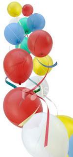 Balões de festa coloridos vermelhos verdes e amarelos