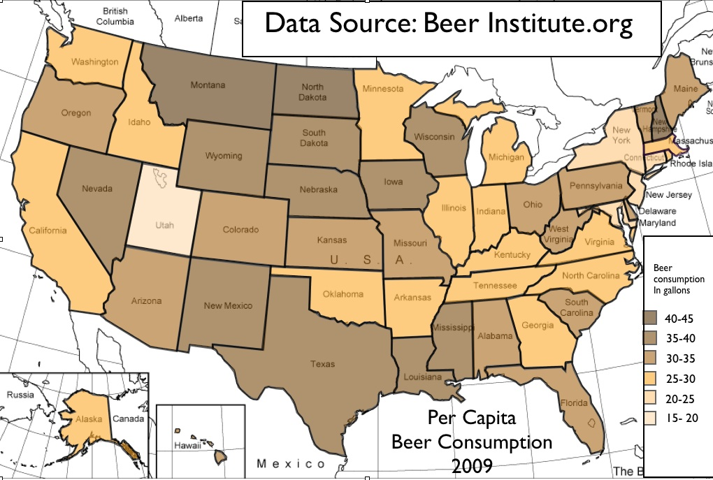 Beer Consumption And Regional Trends In US Alcohol Use GeoCurrents - Beer Map Of The Us
