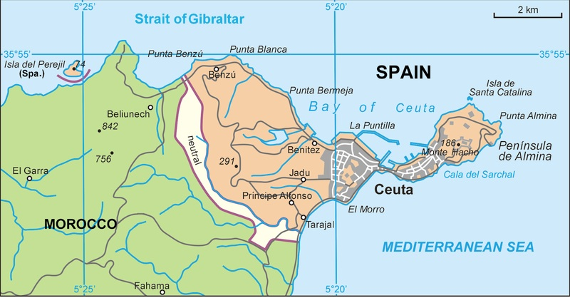 africa map strait of gibraltar