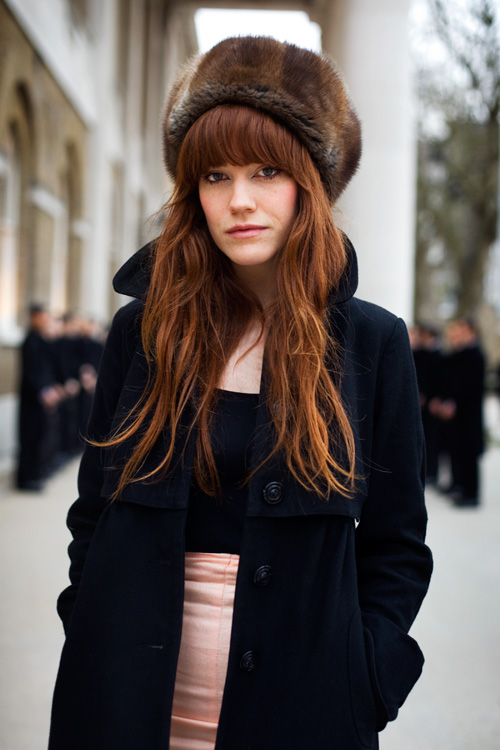 bright red hair with fringe
