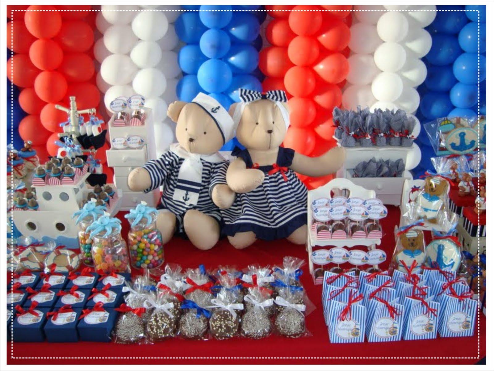 Ursinhos Marinheiros Digna De Uma Festa Para Comemorar O Primeiro Ano~ Decoracao Festa Ursinho Marinheiro