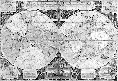 Drakes Map; Drake was a British leader of the battle against the Spanish Armada and well known as an explorer.