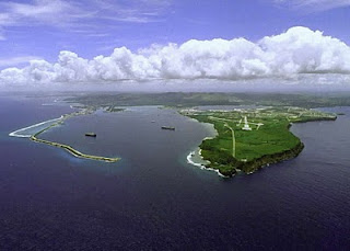 Aerial view of Apra Harbor on the island of Guam