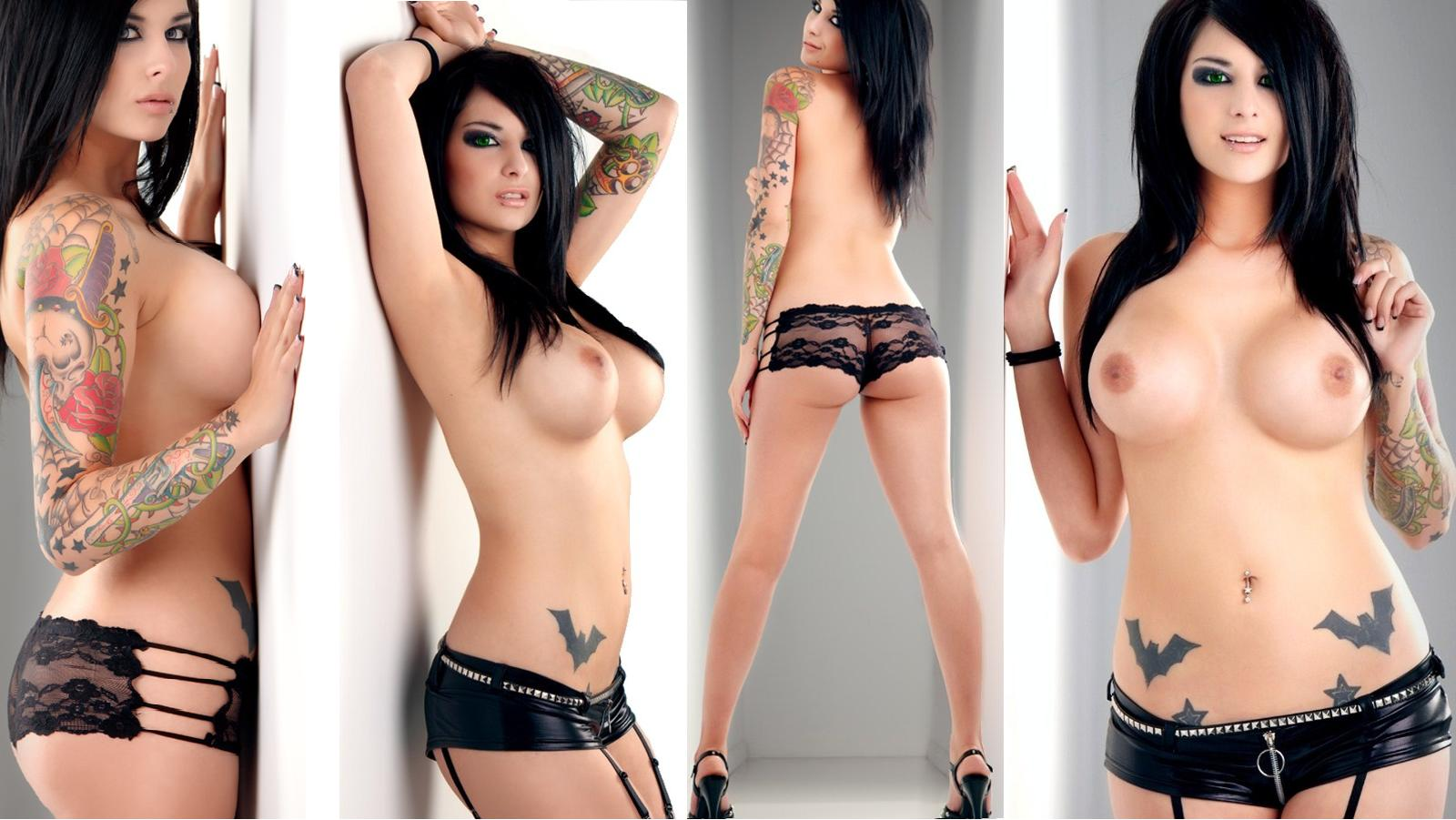 Sexy nude emo girl with tattoos
