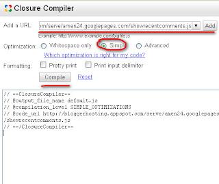 Compress JavaScript dengan Tools Rujukan Google