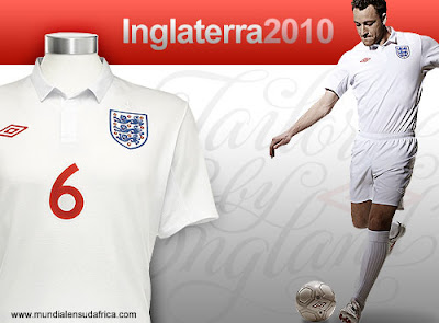 England Home Kit 2010 Umbro, Tailored by England - Camiseta Inglaterra Titular Mundial Sudafrica 2010