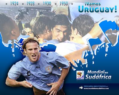 Descargar Wallpaper Mundial 2010 de Uruguay con Diego Forlán
