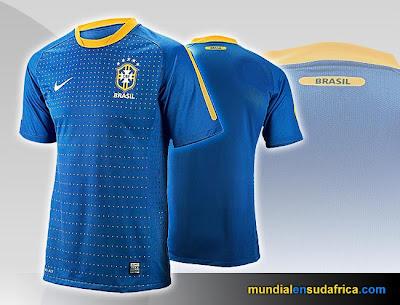 La Camiseta Suplente de Brasil para el Mundial 2010 de Sudáfrica presentada por Robinho