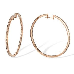 Large Inside and Out Diamond 14k Rose Gold Hoop Earrings