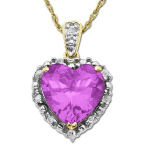 10k Yellow Gold 10mm Heart Shaped Created Pink Sapphire & Framed Diamond Accent Pendant (1/10 cttw, I-J Color, I2-I3 Clarity)